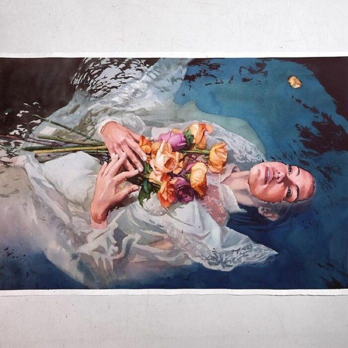 Marcos Beccari artista brasileiro retrata pessoas dentro dagua em incriveis pinturas aquarelas 10