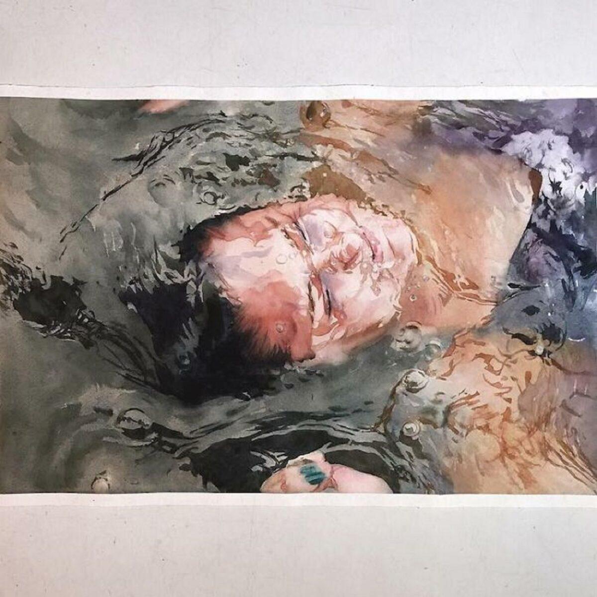 Marcos Beccari artista brasileiro retrata pessoas dentro dagua em incriveis pinturas aquarelas 11