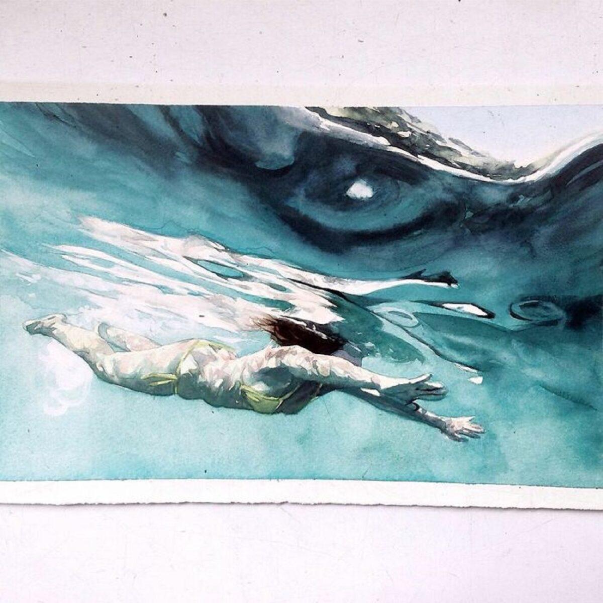 Marcos Beccari artista brasileiro retrata pessoas dentro dagua em incriveis pinturas aquarelas 13