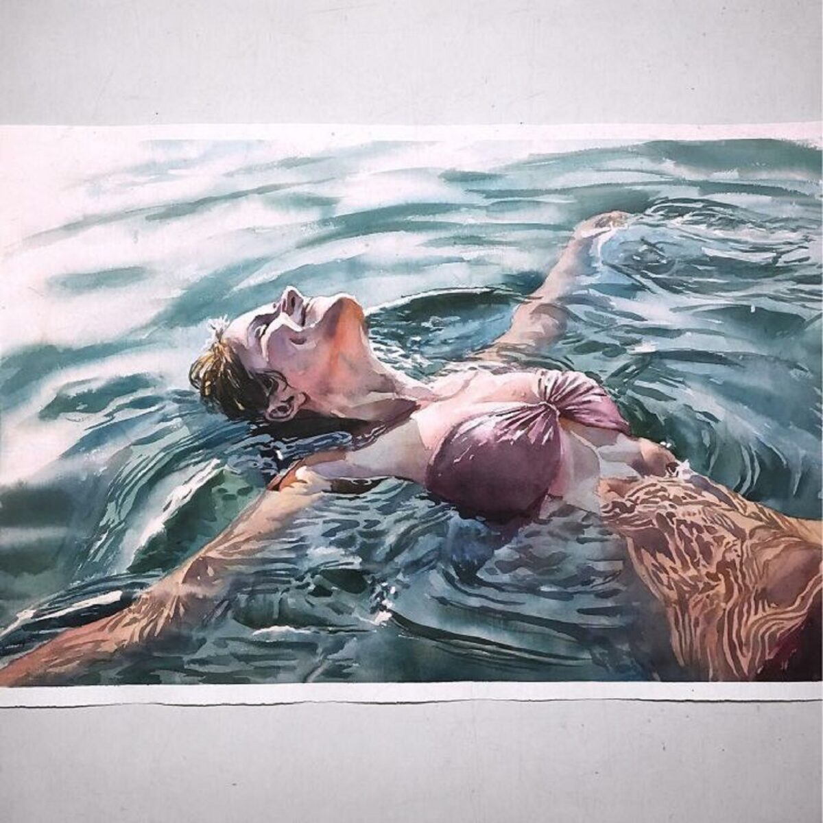 Marcos Beccari artista brasileiro retrata pessoas dentro dagua em incriveis pinturas aquarelas 16