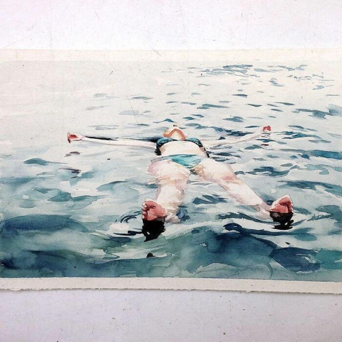 Marcos Beccari artista brasileiro retrata pessoas dentro dagua em incriveis pinturas aquarelas 18