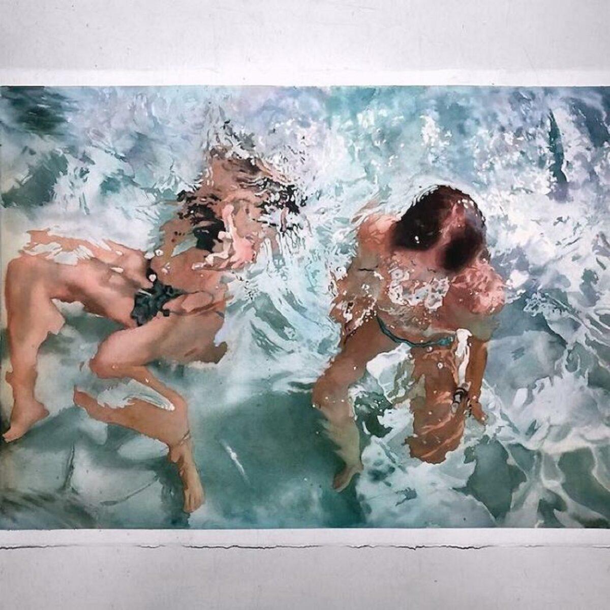 Marcos Beccari artista brasileiro retrata pessoas dentro dagua em incriveis pinturas aquarelas 19