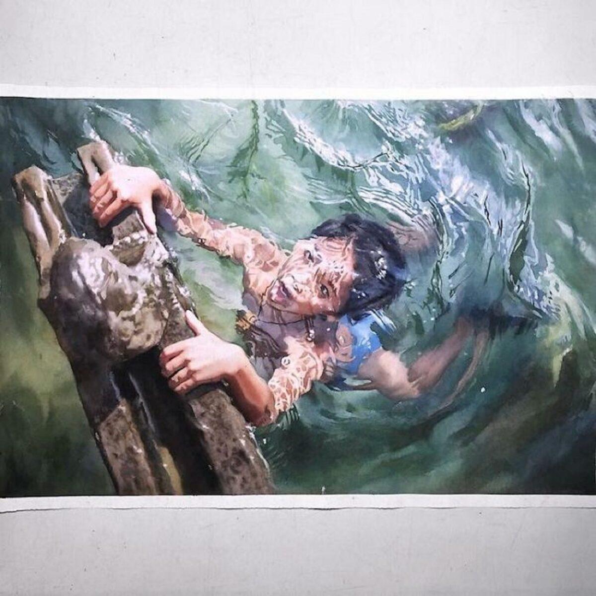 Marcos Beccari artista brasileiro retrata pessoas dentro dagua em incriveis pinturas aquarelas 2