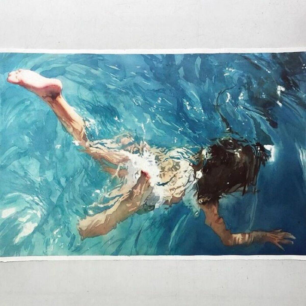Marcos Beccari artista brasileiro retrata pessoas dentro dagua em incriveis pinturas aquarelas 21