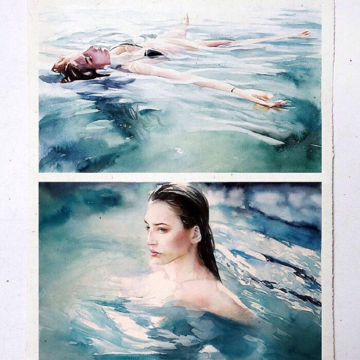 Marcos Beccari artista brasileiro retrata pessoas dentro dagua em incriveis pinturas aquarelas 23