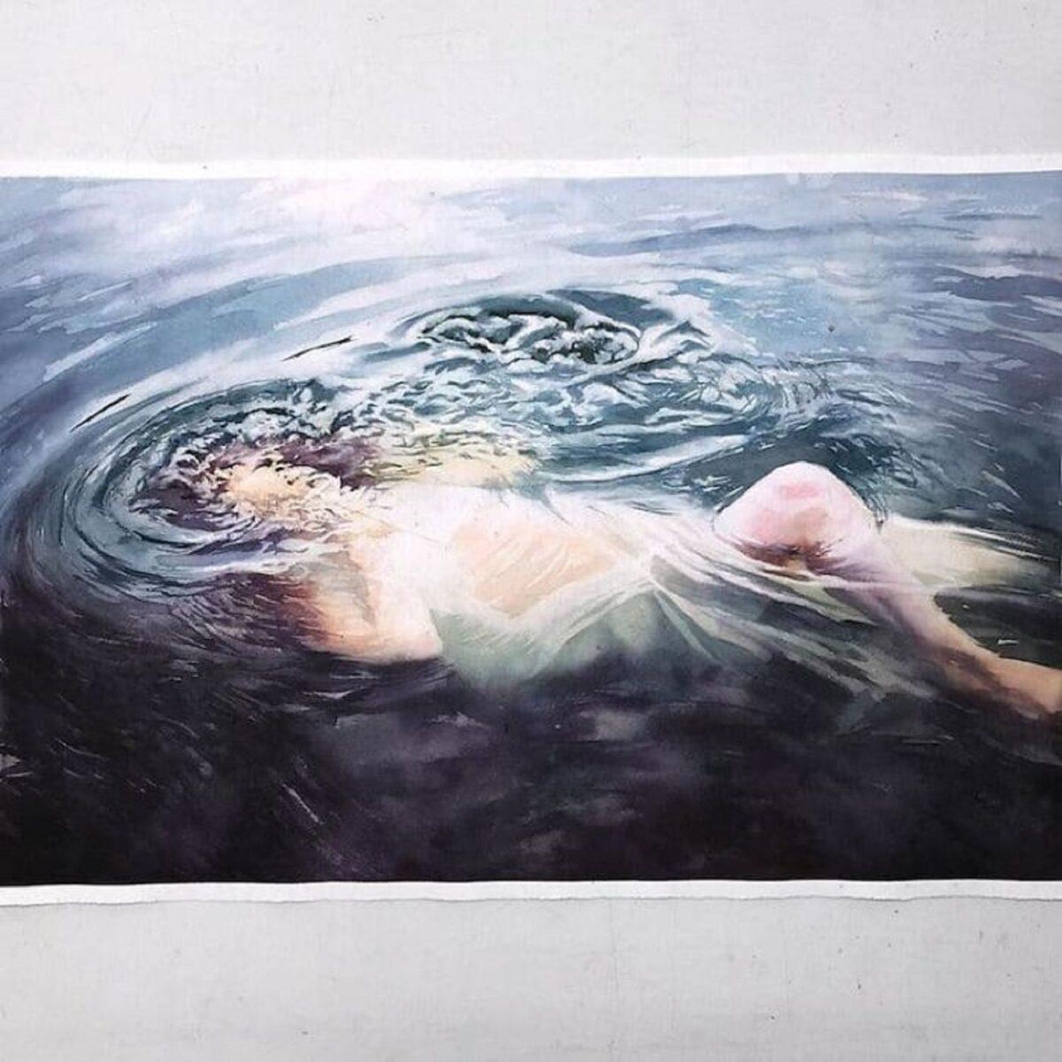 Marcos Beccari artista brasileiro retrata pessoas dentro dagua em incriveis pinturas aquarelas 24