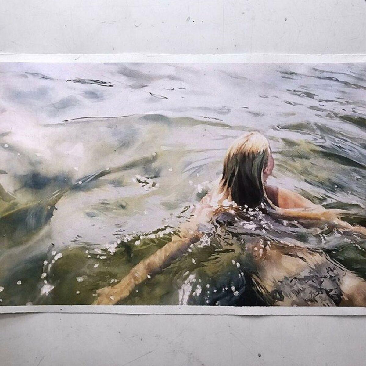 Marcos Beccari artista brasileiro retrata pessoas dentro dagua em incriveis pinturas aquarelas 4