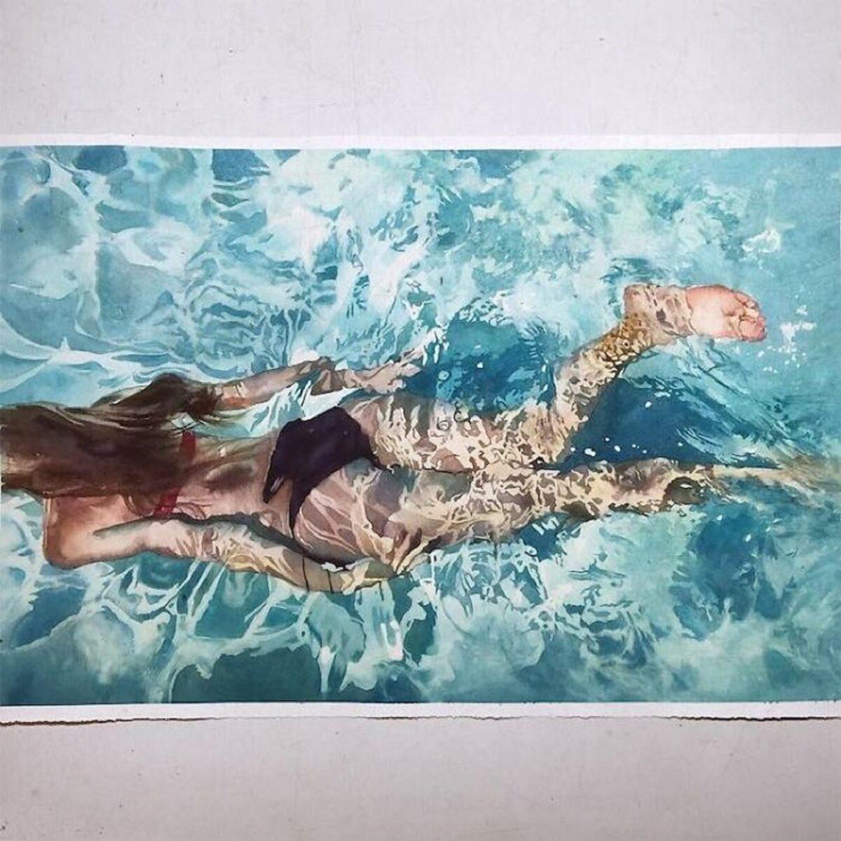 Marcos Beccari artista brasileiro retrata pessoas dentro dagua em incriveis pinturas aquarelas 5