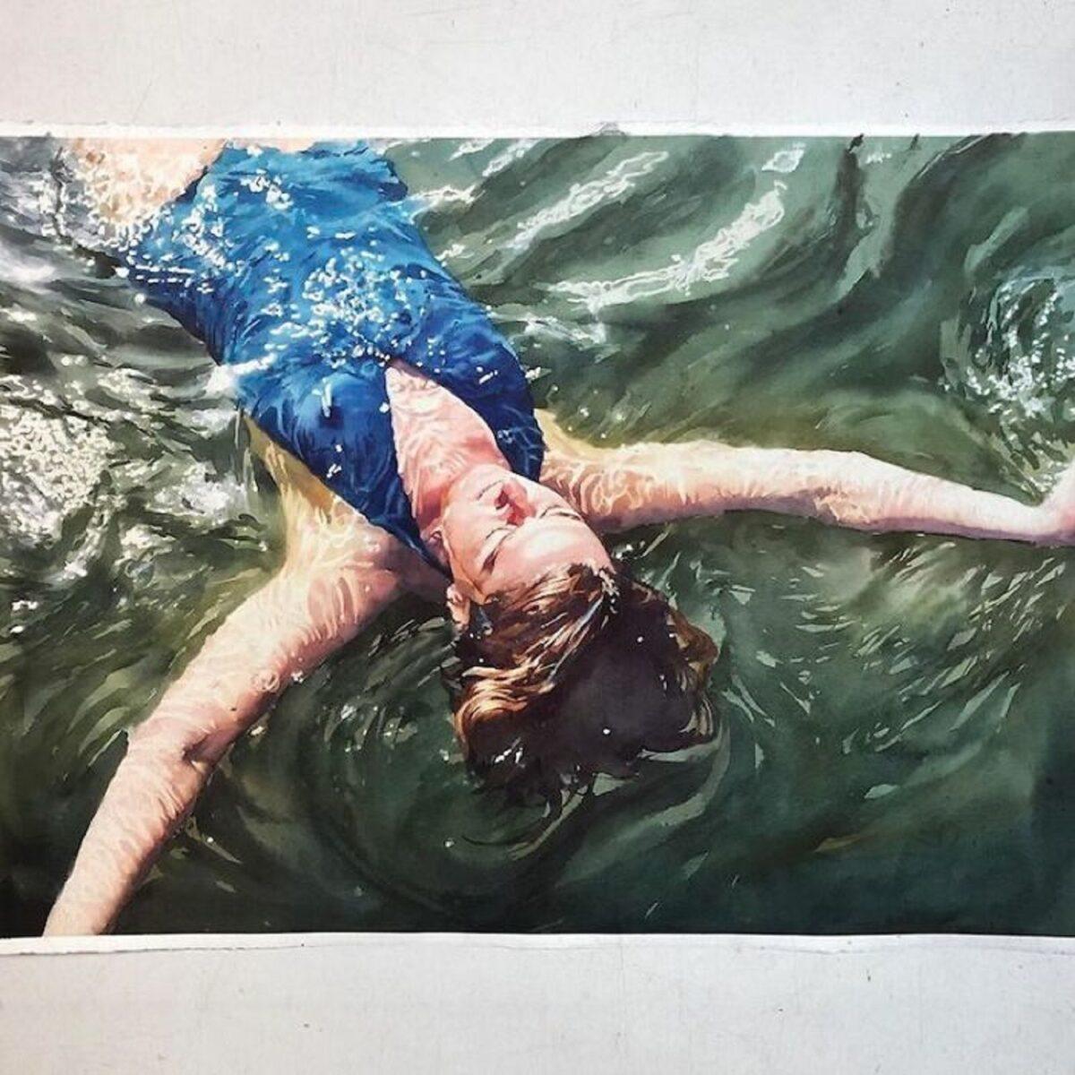 Marcos Beccari artista brasileiro retrata pessoas dentro dagua em incriveis pinturas aquarelas 8