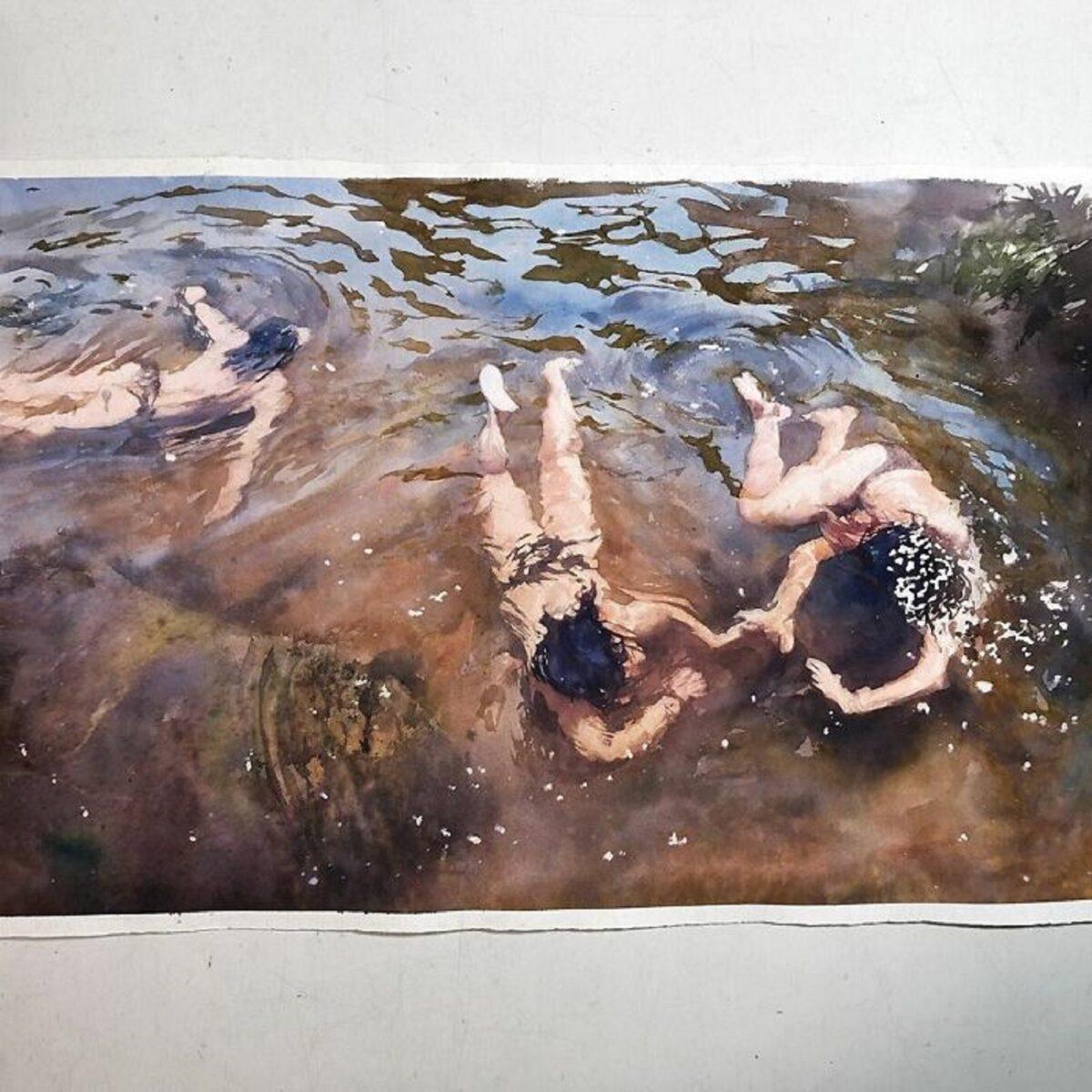 Marcos Beccari artista brasileiro retrata pessoas dentro dagua em incriveis pinturas aquarelas 9