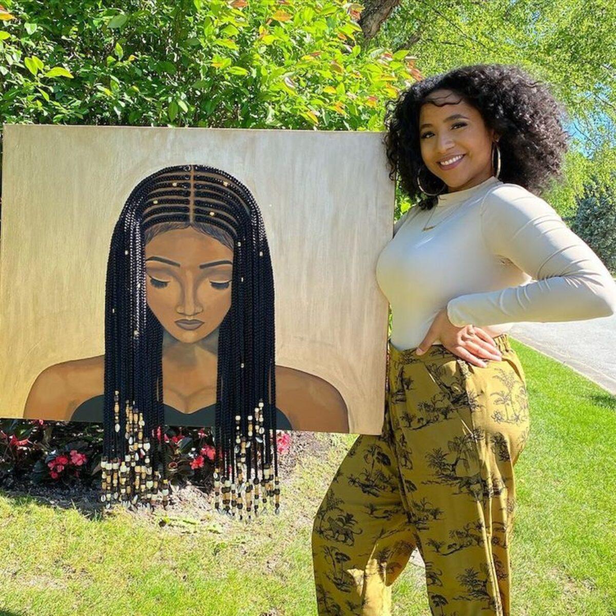 Tyler Clark pinta quadros de mulheres negras com cabelo de verdade e chama a atencao com seu trabalho 1