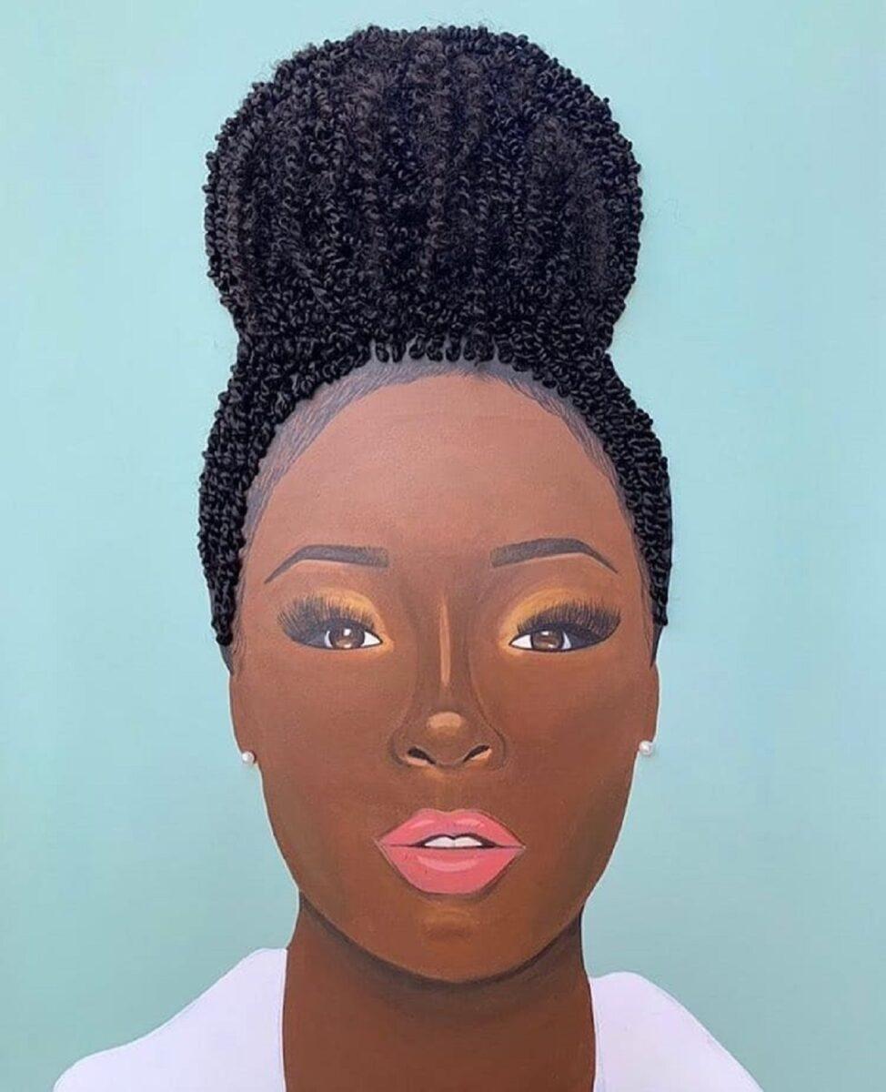 Tyler Clark pinta quadros de mulheres negras com cabelo de verdade e chama a atencao com seu trabalho 3