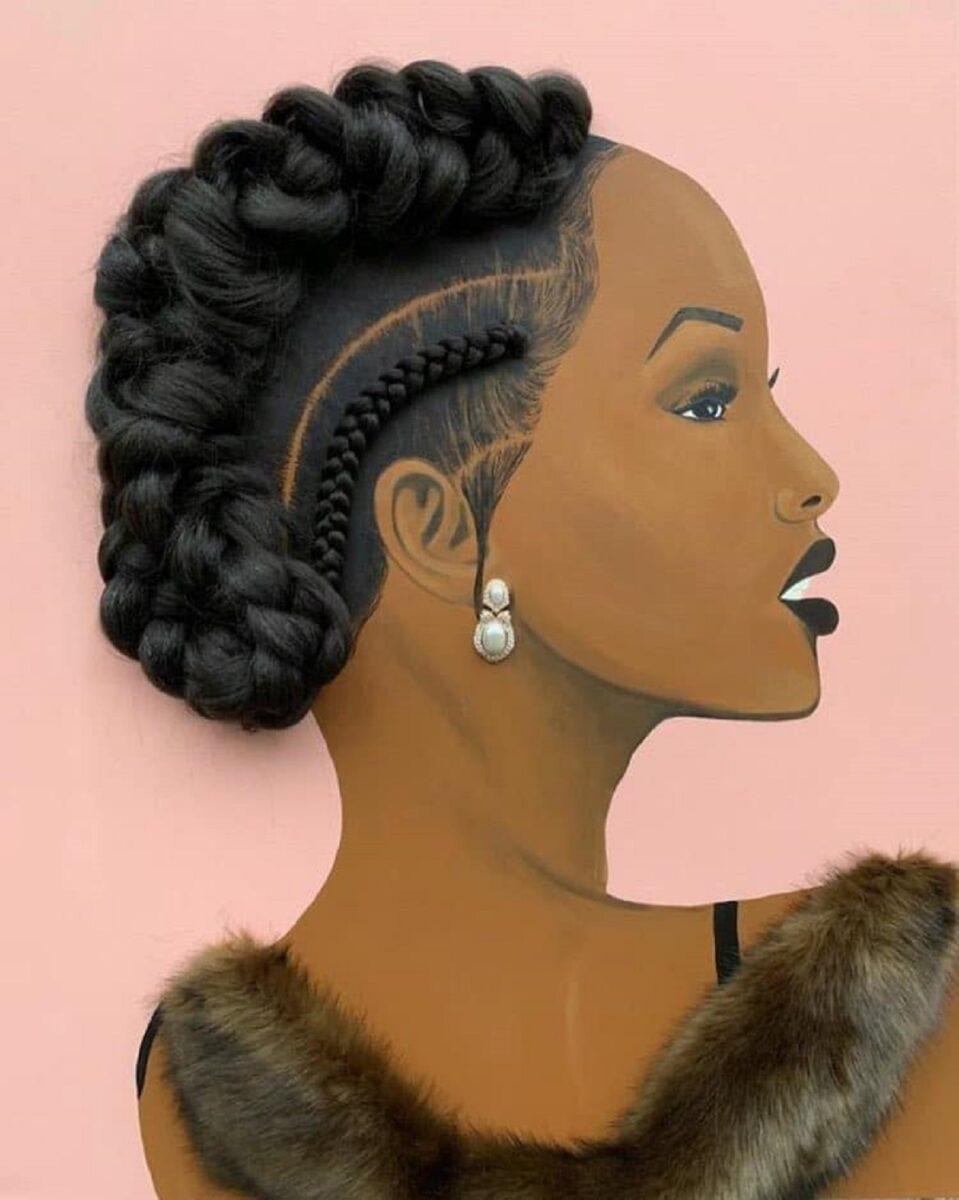 Tyler Clark pinta quadros de mulheres negras com cabelo de verdade e chama a atencao com seu trabalho 4