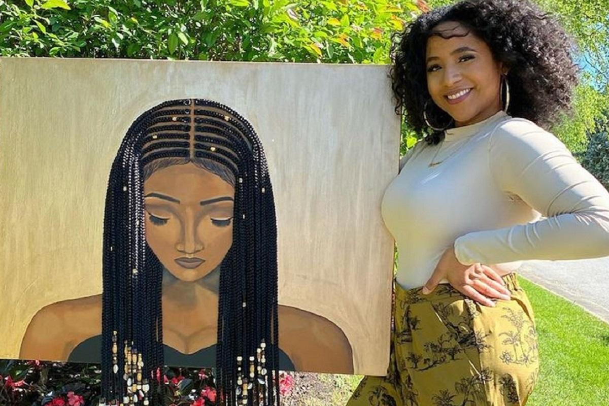 Tyler Clark pinta quadros de mulheres negras com cabelo de verdade e chama a atenção com seu trabalho