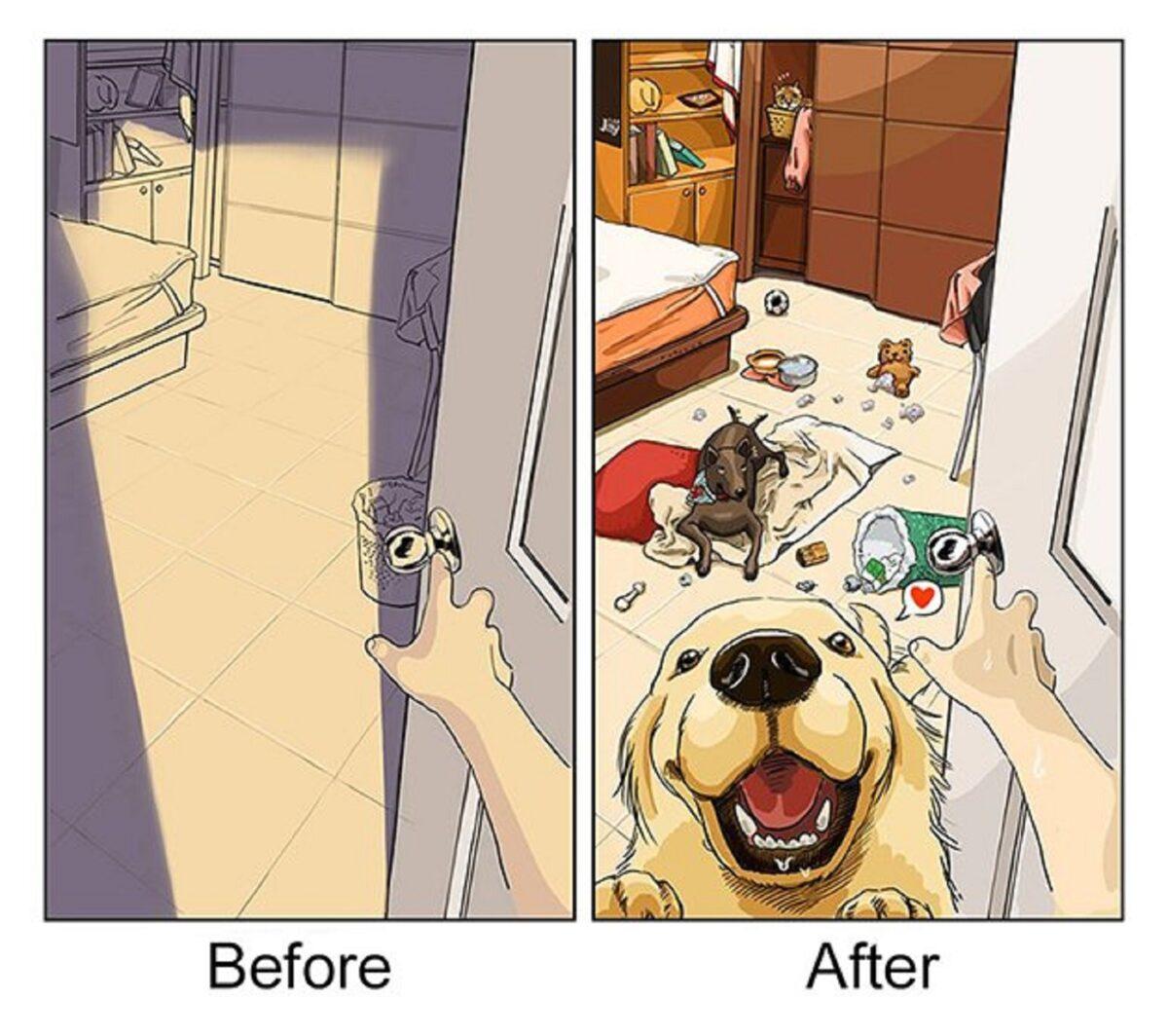 artista cria serie de ilustracoes mostra o antes e depois da vida com um pet 3