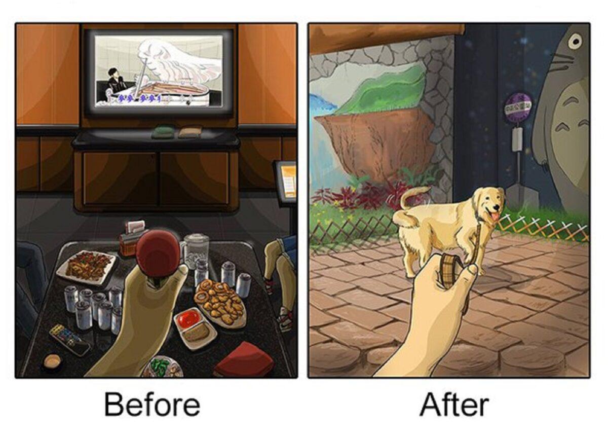 artista cria serie de ilustracoes mostra o antes e depois da vida com um pet 5