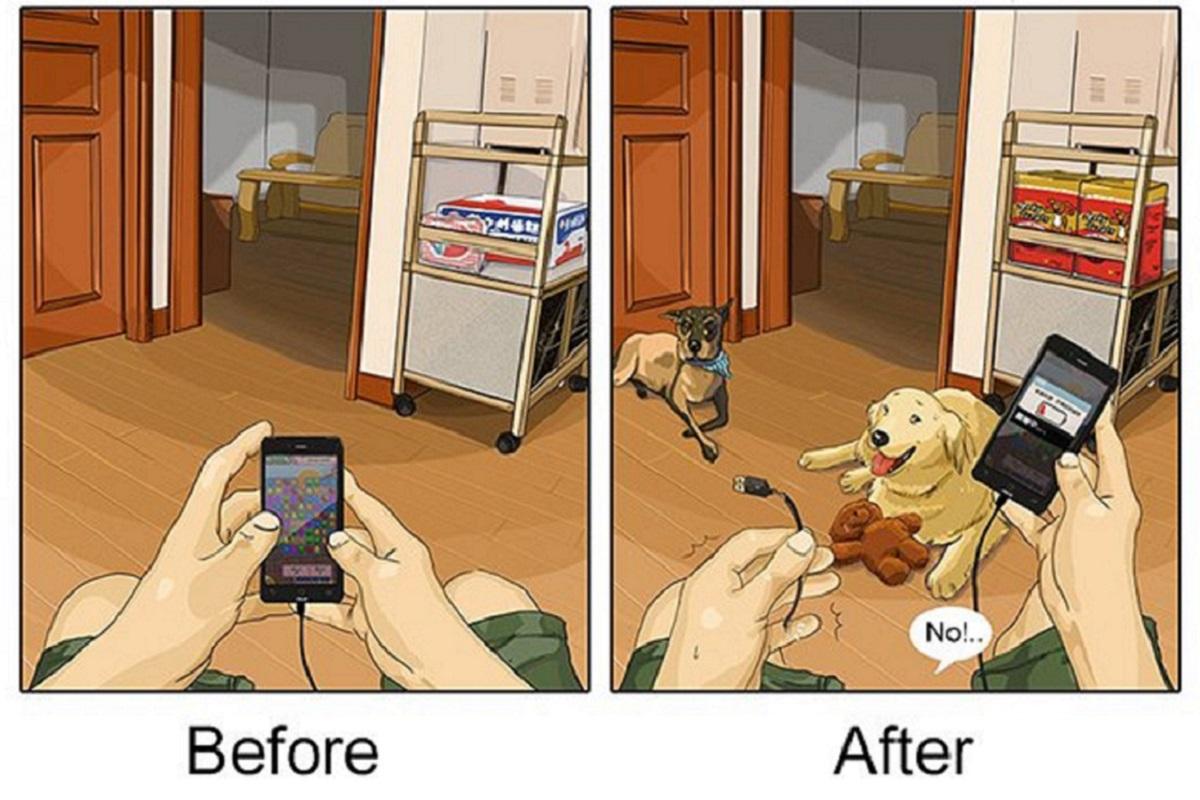 """Artista cria série de ilustrações e mostra o """"antes e depois"""" da vida com um pet"""