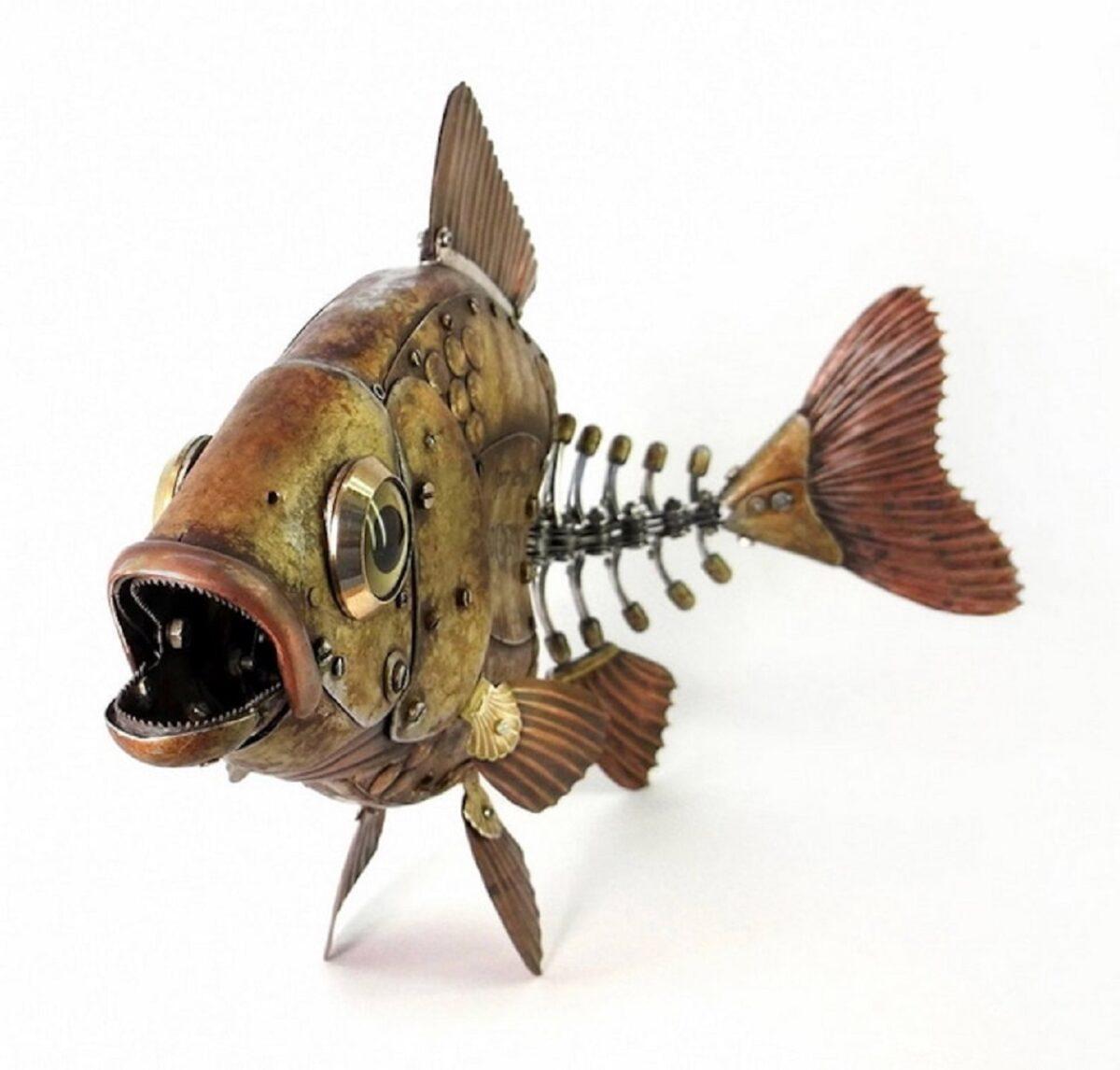 Artista cria esculturas de animais com pecas mecanicas descartadas em estilo Steampunk 12