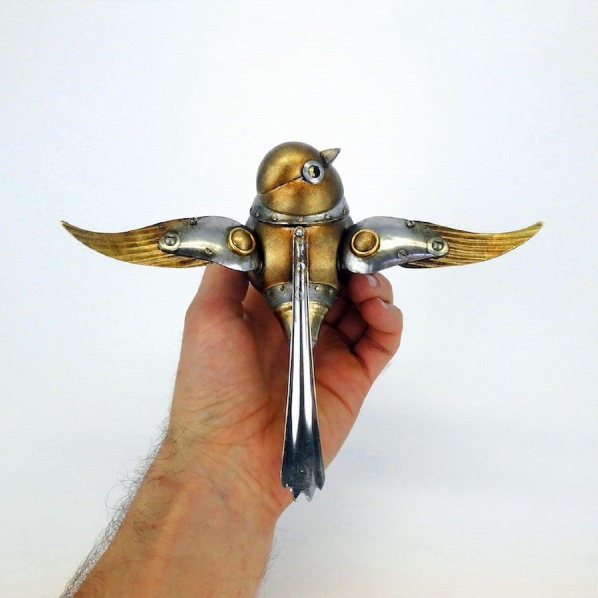 Artista cria esculturas de animais com pecas mecanicas descartadas em estilo Steampunk 16