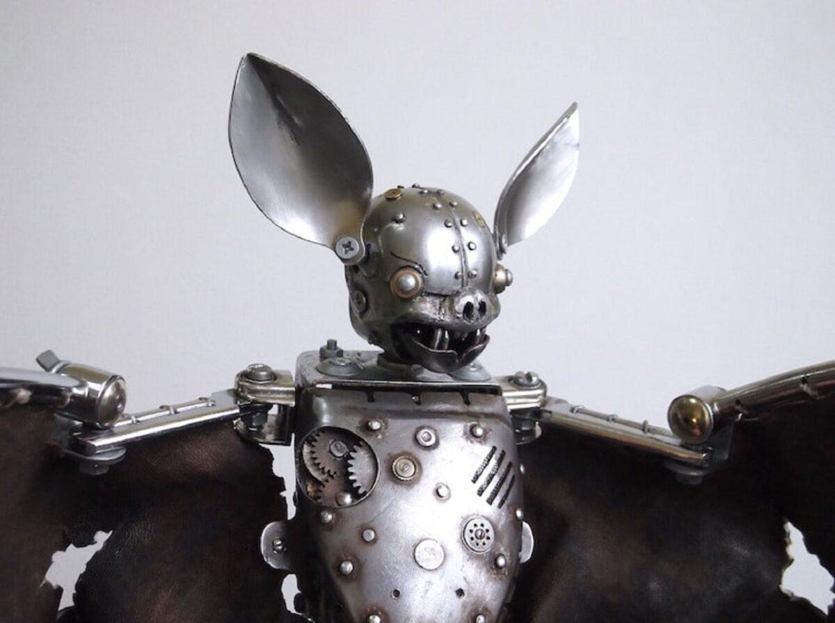 Artista cria esculturas de animais com pecas mecanicas descartadas em estilo Steampunk 18