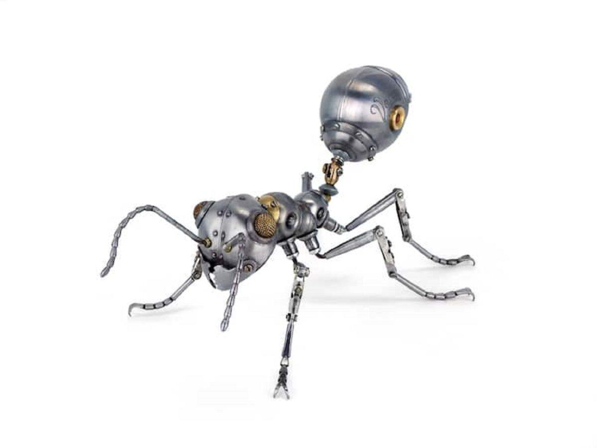 Artista cria esculturas de animais com pecas mecanicas descartadas em estilo Steampunk 19