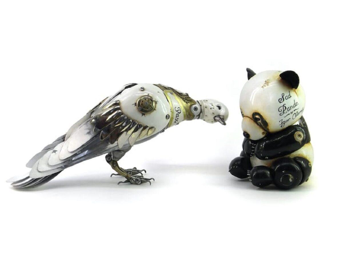 Artista cria esculturas de animais com pecas mecanicas descartadas em estilo Steampunk 2