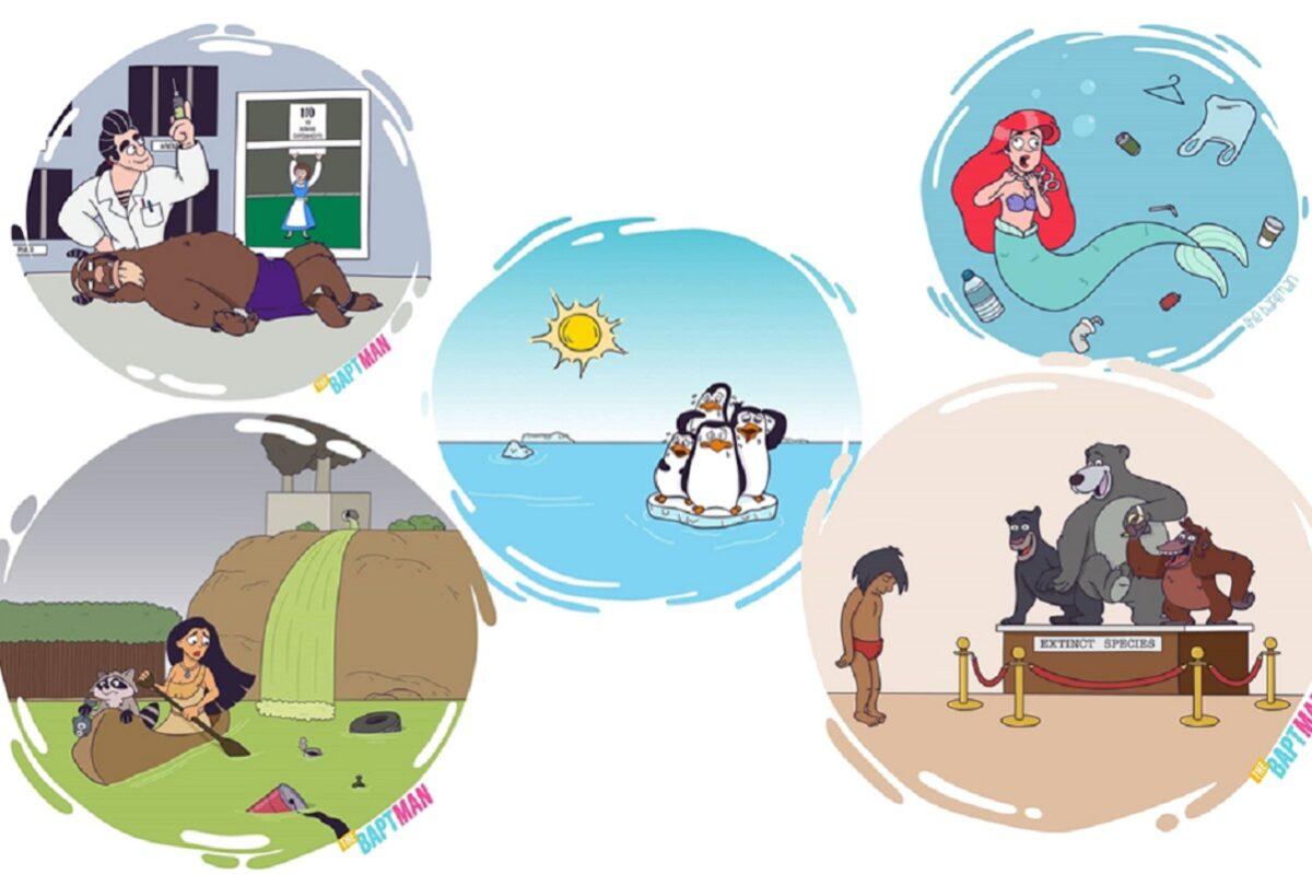 Baptiste Drausin ilustrador frances coloca personagens da cultura pop com problemas atuais 1