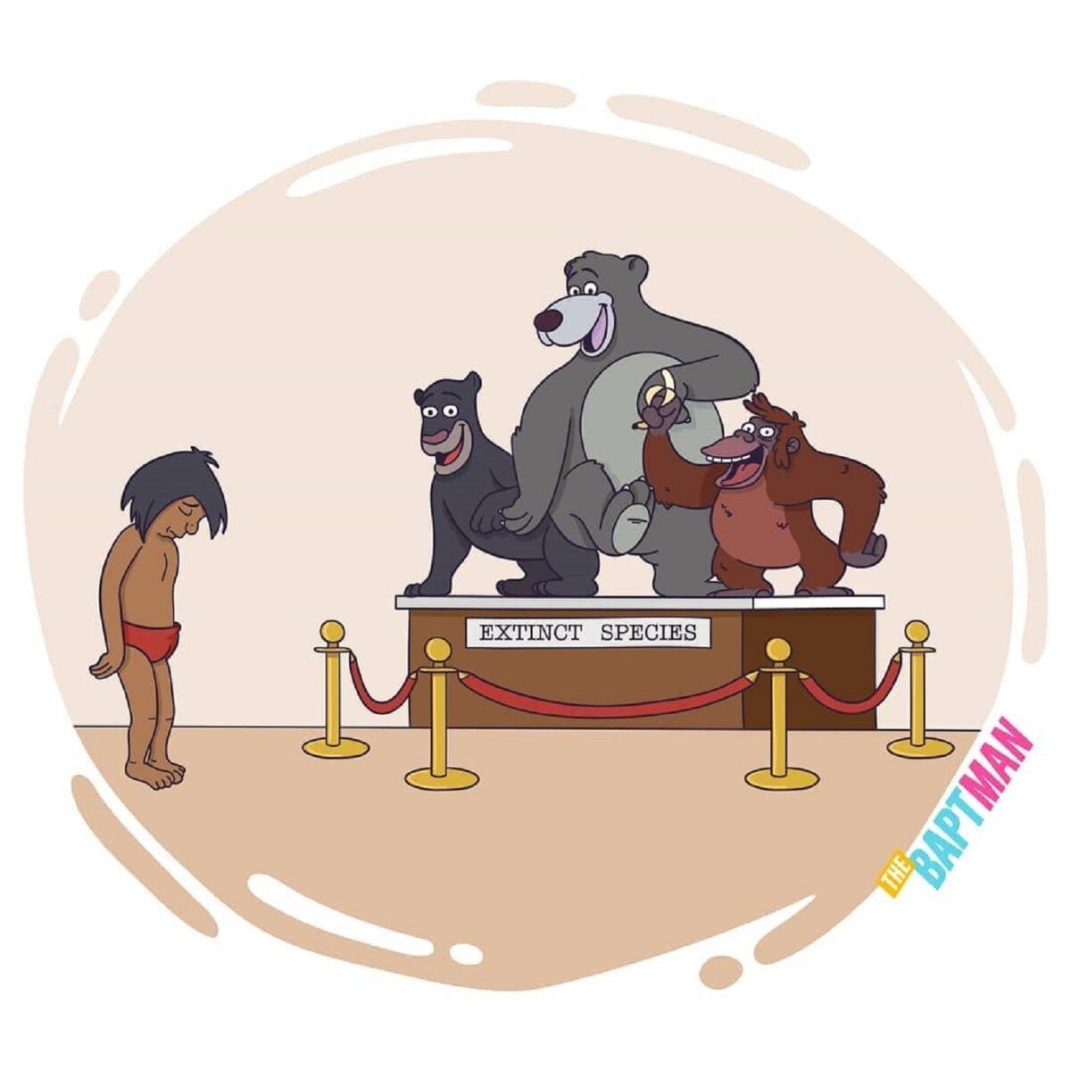 Baptiste Drausin ilustrador frances coloca personagens da cultura pop com problemas atuais 10