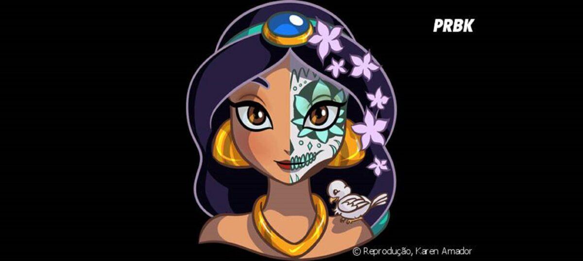 Princesas da Disney com maquiagem de caveira mexicana 10
