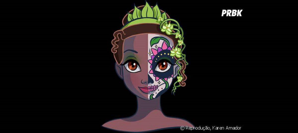 Princesas da Disney com maquiagem de caveira mexicana 11