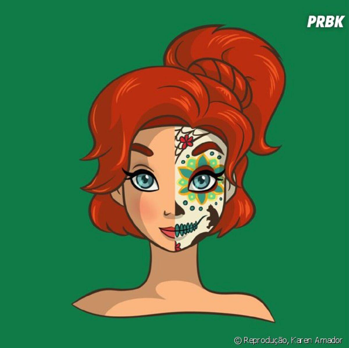 Princesas da Disney com maquiagem de caveira mexicana 12
