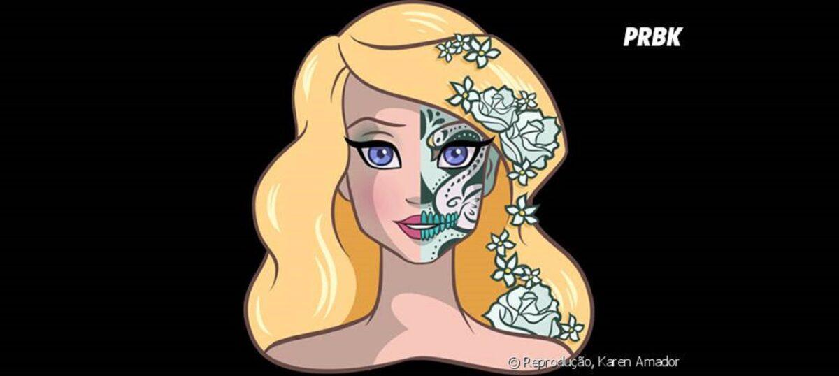Princesas da Disney com maquiagem de caveira mexicana 15