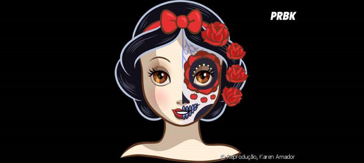 Princesas da Disney com maquiagem de caveira mexicana 2