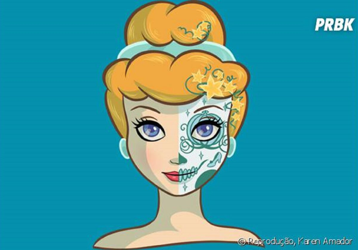 Princesas da Disney com maquiagem de caveira mexicana 3