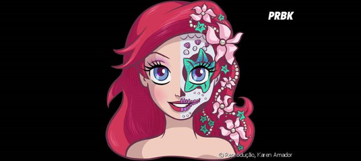 Princesas da Disney com maquiagem de caveira mexicana 4