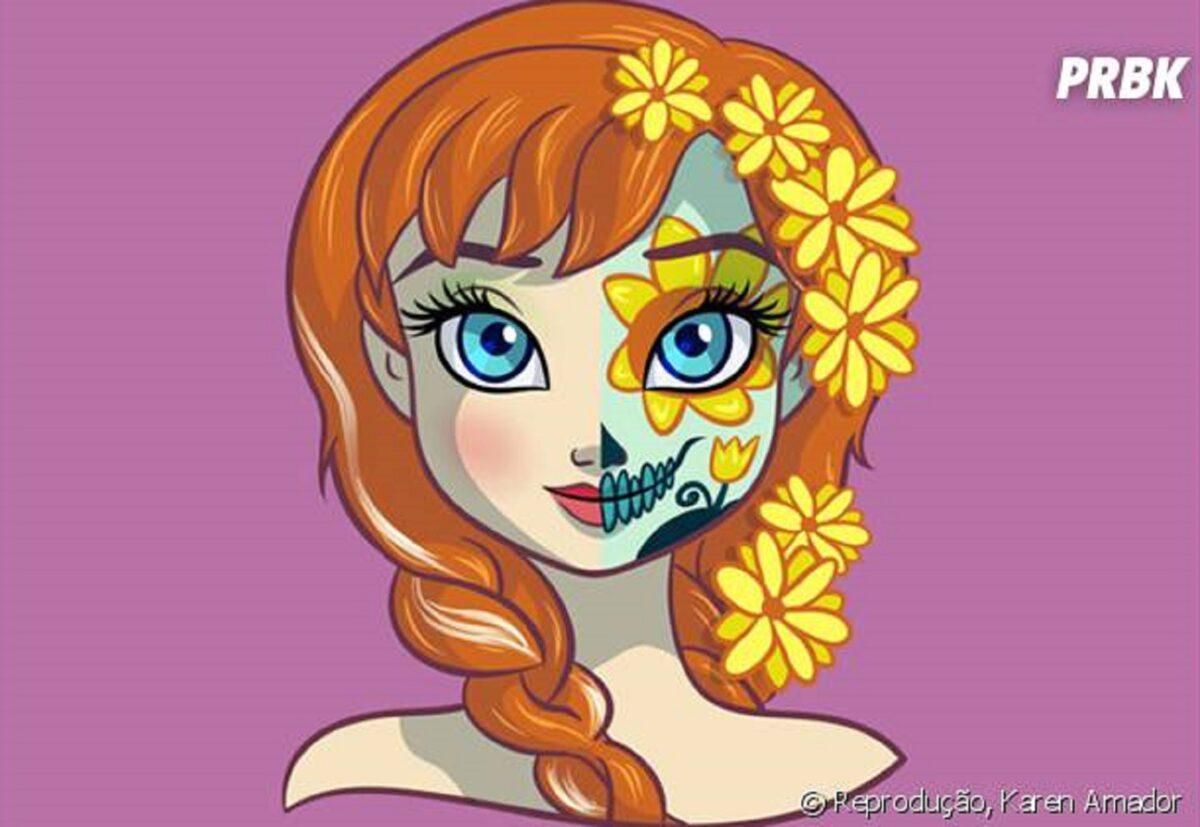 Princesas da Disney com maquiagem de caveira mexicana 5