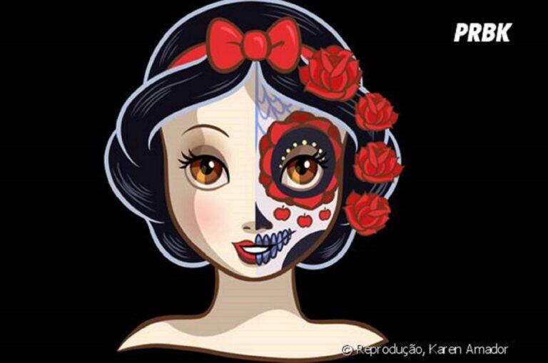 Princesas da Disney com maquiagem de caveira mexicana 50