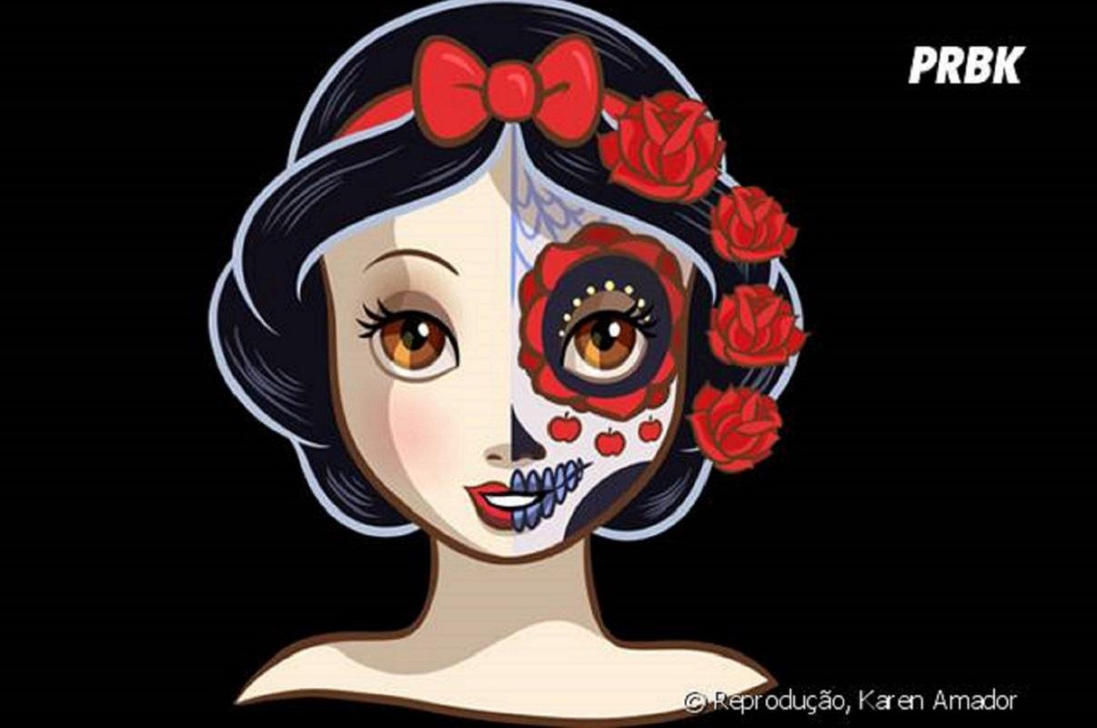 Karen Amador: artista recria princesas da Disney com maquiagem de caveira mexicana