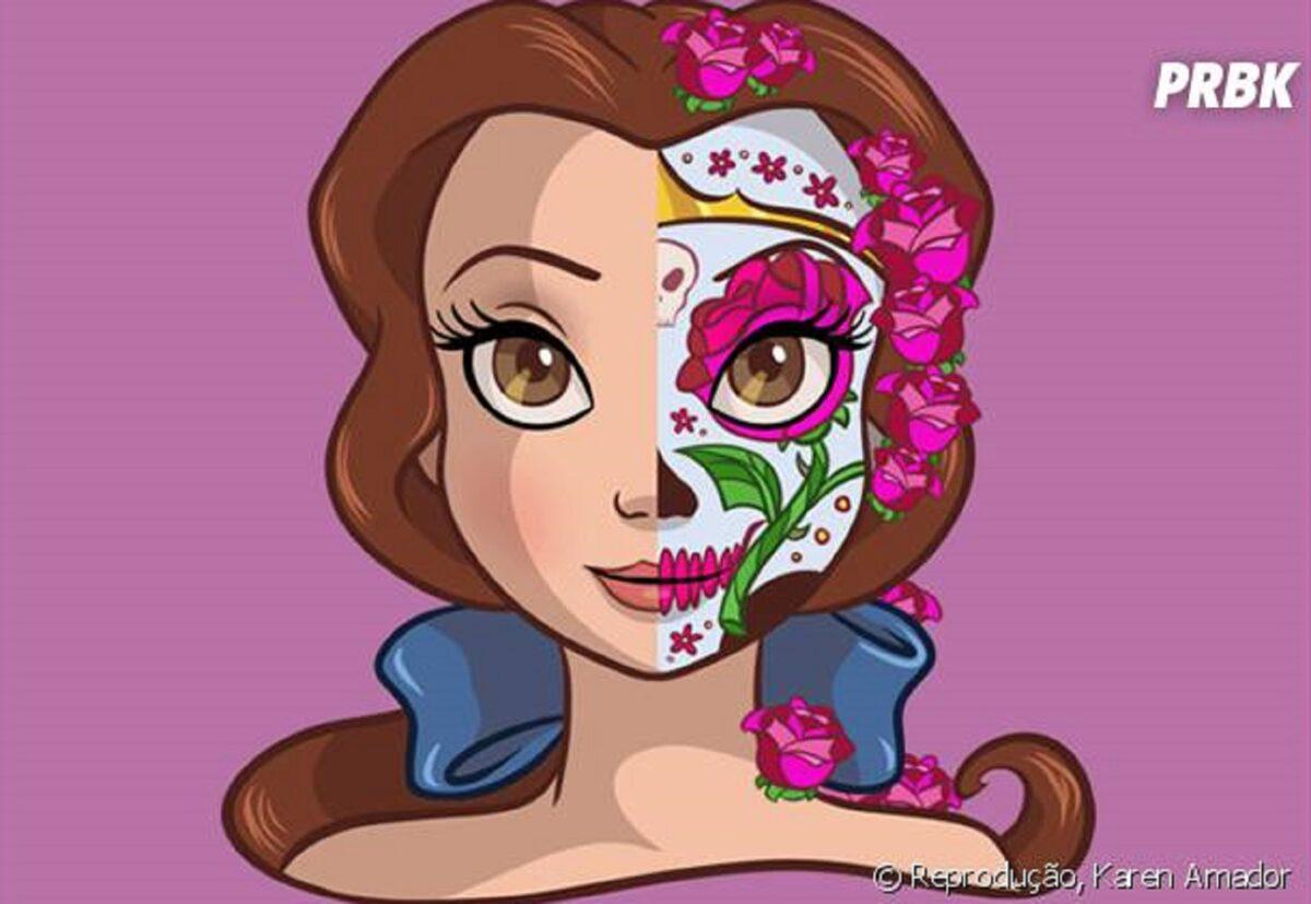 Princesas da Disney com maquiagem de caveira mexicana 7