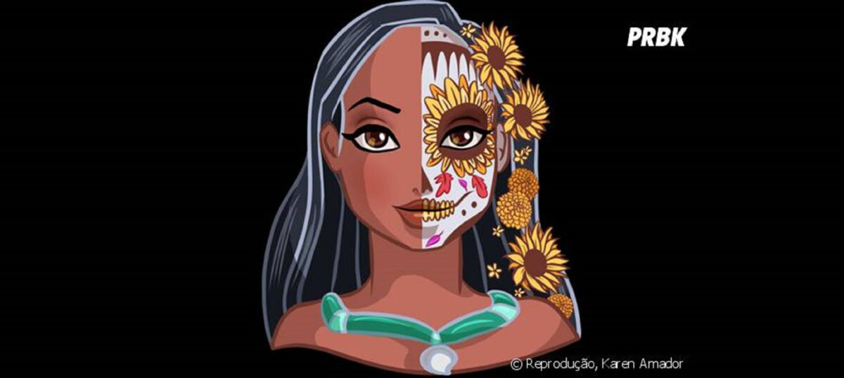 Princesas da Disney com maquiagem de caveira mexicana 8