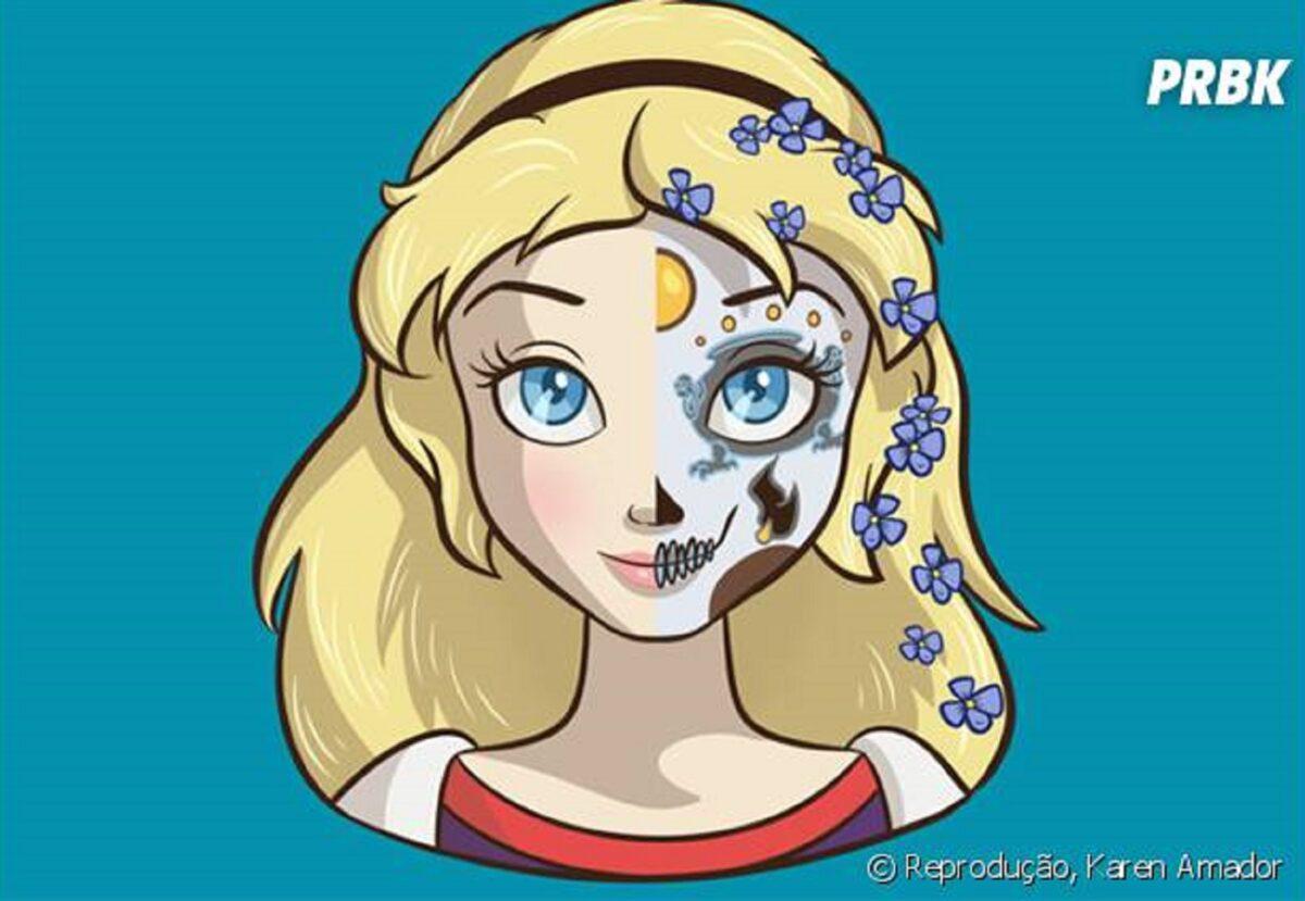 Princesas da Disney com maquiagem de caveira mexicana 9