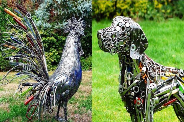 Brian Mock artista americano transforma porcas parafusos e sucata em esculturas de animais em tamanho real 50