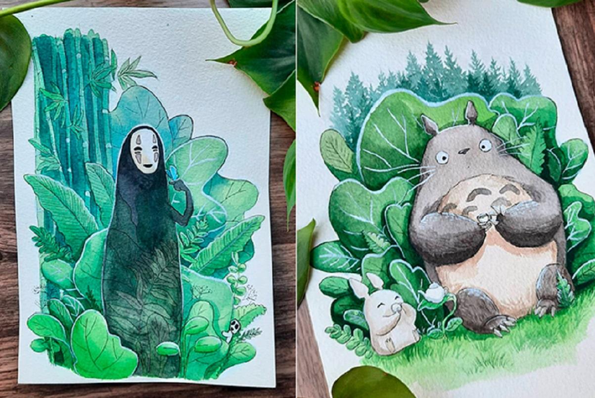 Déborah Maradan: artista suíça recria personagens do Studio Ghibli interagindo com a natureza