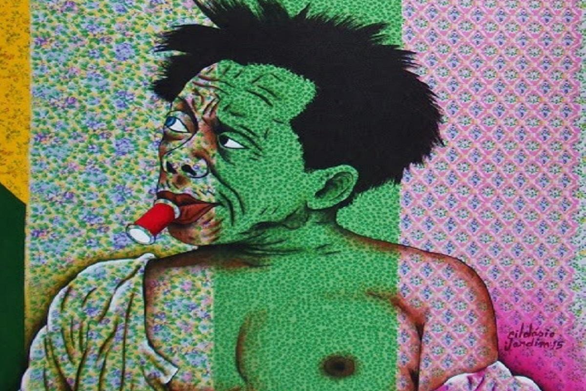Gildasio Jardim artista pinta cenas cotidianas em tecidos coloridos de algodao 50