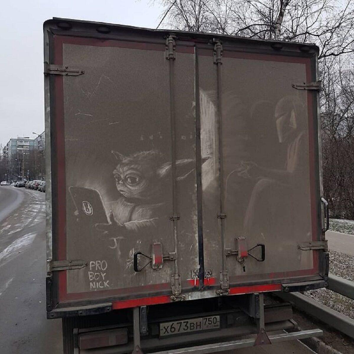 Nikita Golubev artista russa cria desenhos incriveis em caminhoes e tecnica chama atencao 1