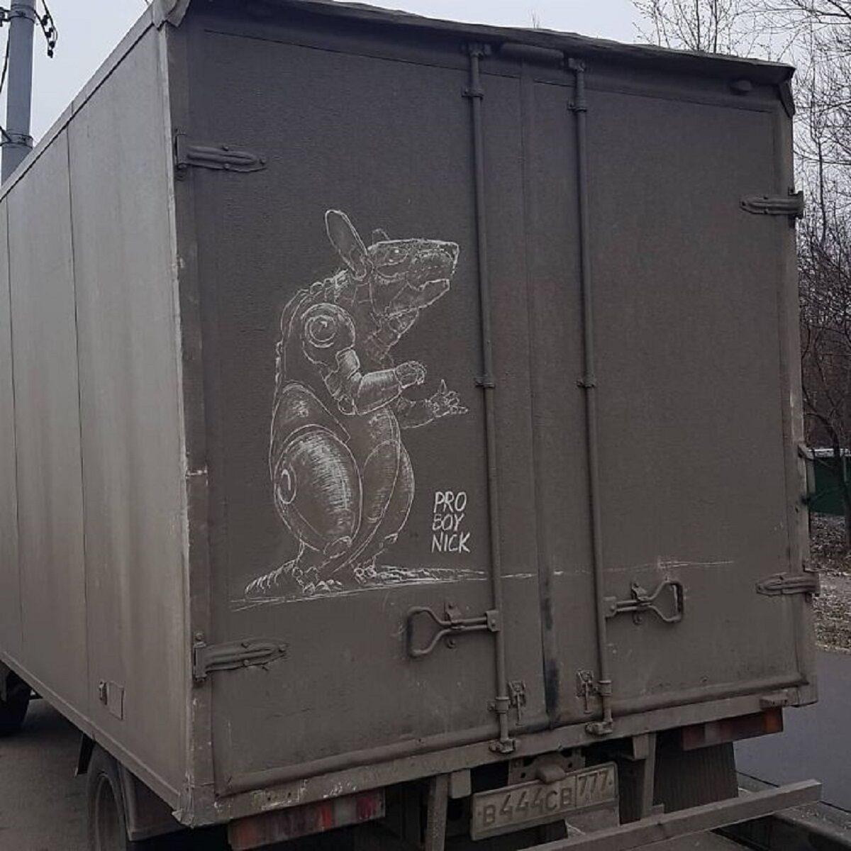 Nikita Golubev artista russa cria desenhos incriveis em caminhoes e tecnica chama atencao 22