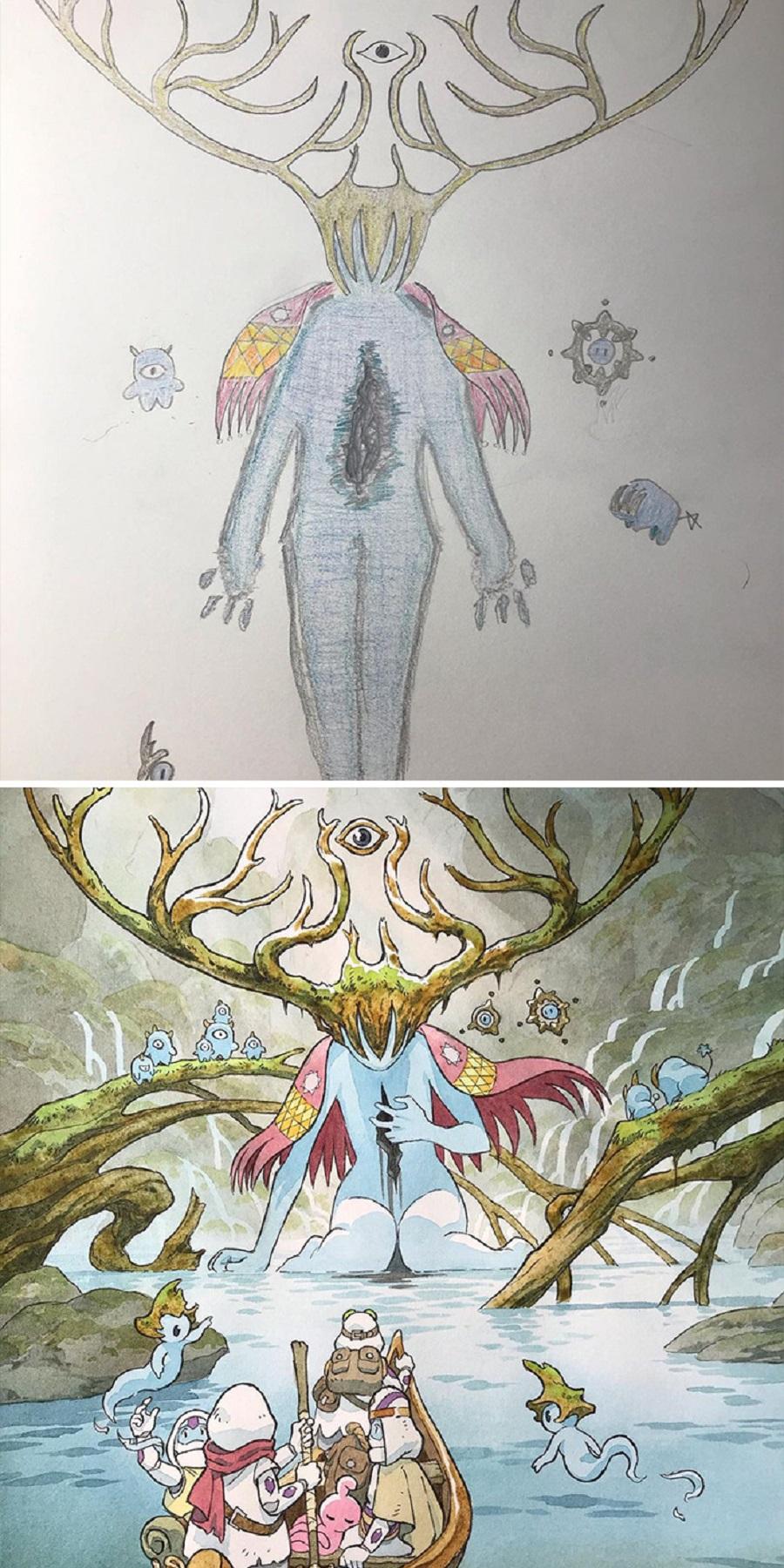 Thomas Romain artista frances transforma rabiscos em personagens de anime para incentivar lado artistico de seus filhos 1