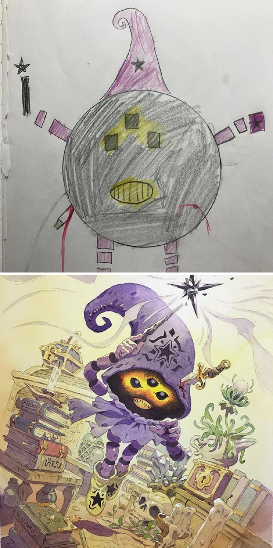 Thomas Romain artista frances transforma rabiscos em personagens de anime para incentivar lado artistico de seus filhos 10