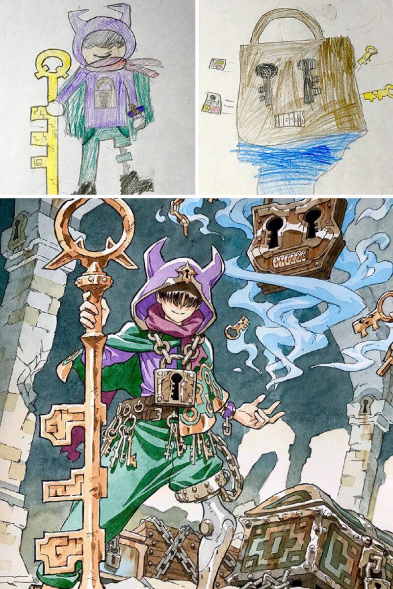 Thomas Romain artista frances transforma rabiscos em personagens de anime para incentivar lado artistico de seus filhos 2
