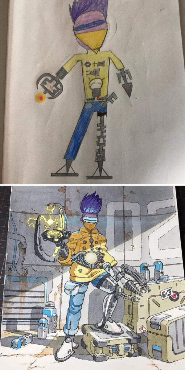 Thomas Romain artista frances transforma rabiscos em personagens de anime para incentivar lado artistico de seus filhos 3